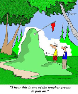 golf funny cartoon putting uphill downhill breaking putt