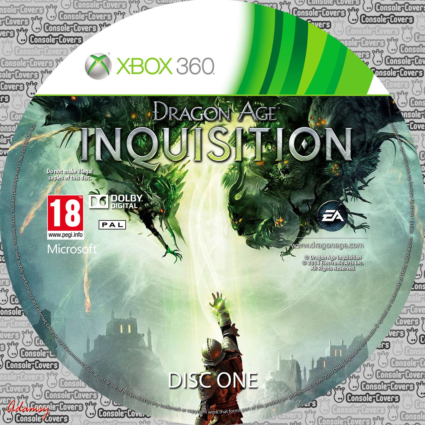Label Dragon Age Inquisition Disc One Xbox 360