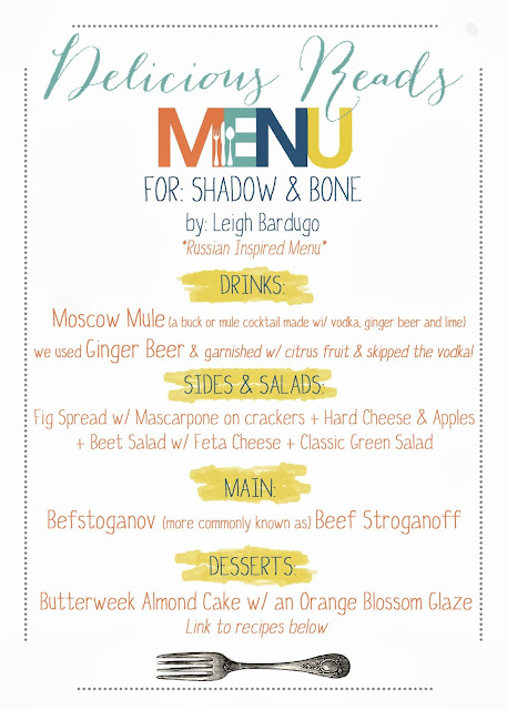 Shadow and Bone Book Club Menu