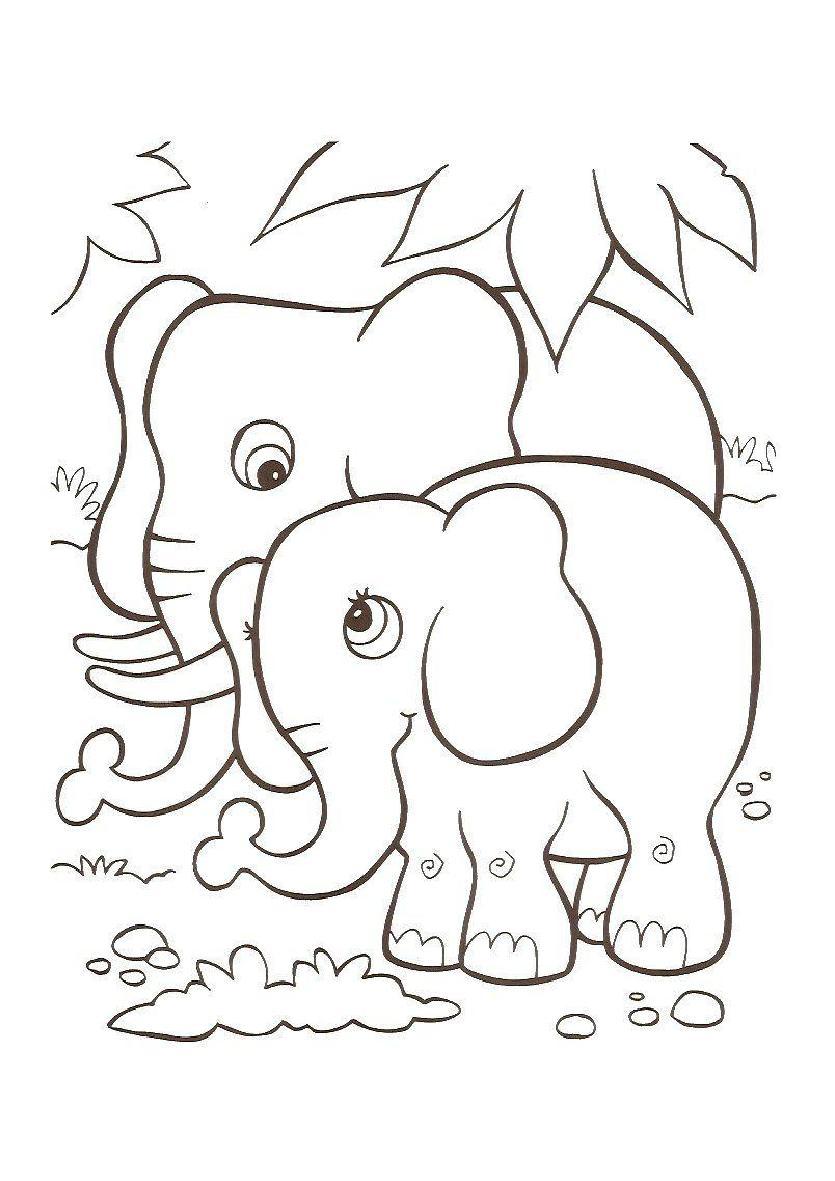 Atractivo Elefantes Para Colorear Para Preescolar Imágenes ...