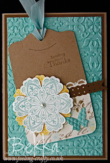 Card featuring a Tag made with the Mixed Bunch Stamp Set & Attic Boutique Papers by Bekka www.feeling-crafty.co.uk