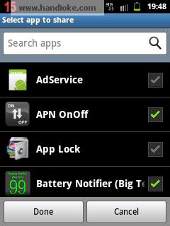Pilih Aplikasi yang ingin dishare/dibagi  - Select app to share
