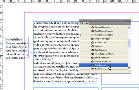 With small frame which contains overset text selected, run SplitStory script