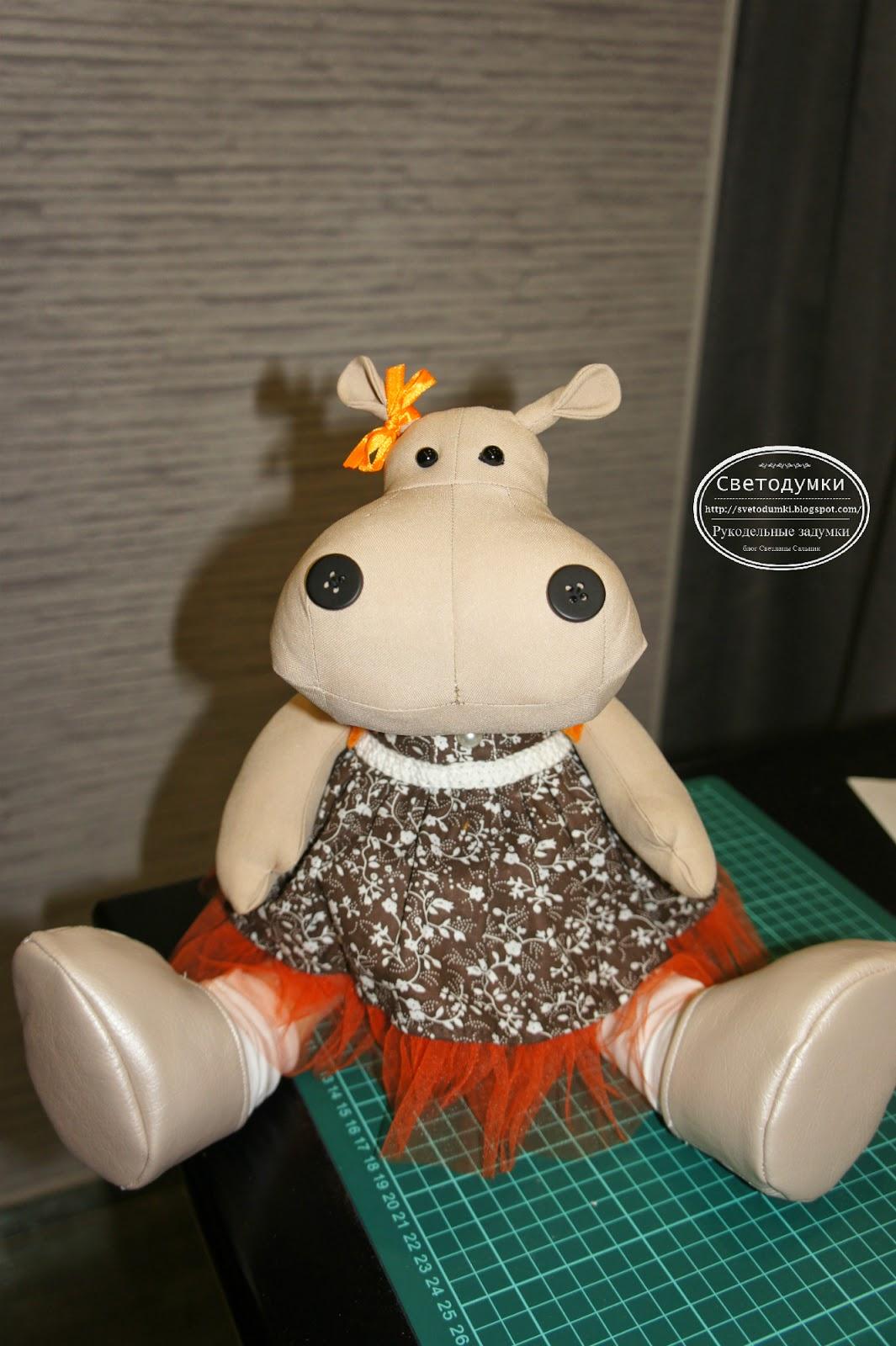 бегемотя, игрушка текстильная