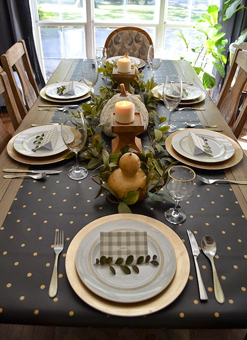 I Started Out With One Of My Favorite Tablescape Tricks U2013 Using Wrapping  Paper As A Table Runner. I Found This Classy Black And Gold Polka Dot Paper  At Home ...