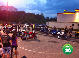 shot of bike night hooters lawrenceville ga