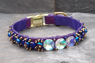 Purple silk luxury dog collar