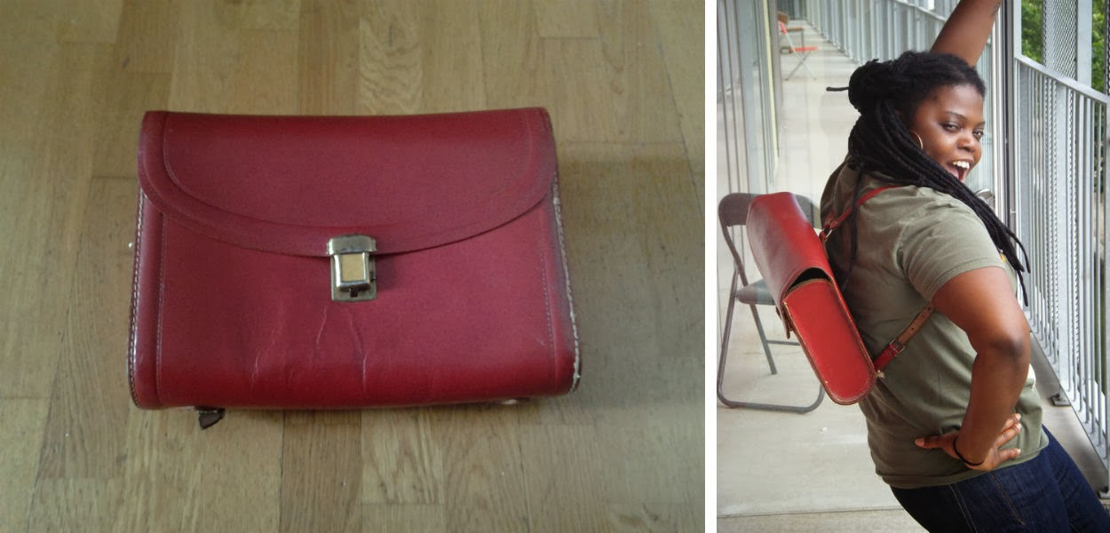 Red vintage Dutch style leather backpack