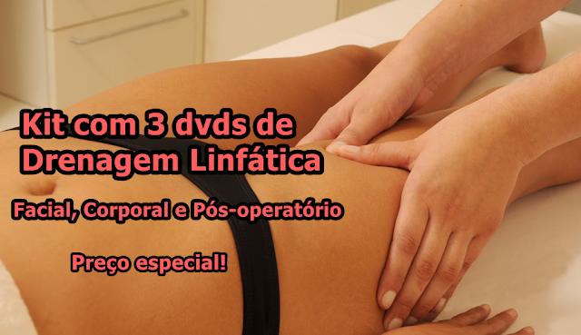 3 dvds de Drenagem Linfática: Facial, Corporal e Pós-Operatório