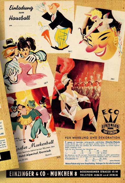 Back cover of Karneval katalog from 1955 - Einzinger & Co. Munchen
