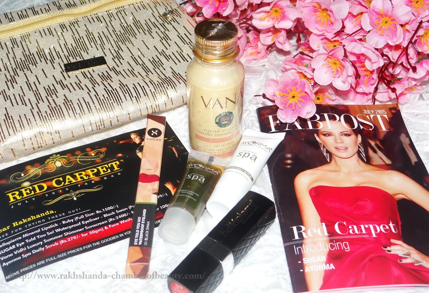 My July Fab Bag- The Red Carpet Edition | Review, swatches, Fab bag review, July Fab bag, Bellapiere cosmetics, Sugar eyeliner, Vana sunscreen, Ayorma fairness face wash, Indian beauty blogger, Chamber of beauty