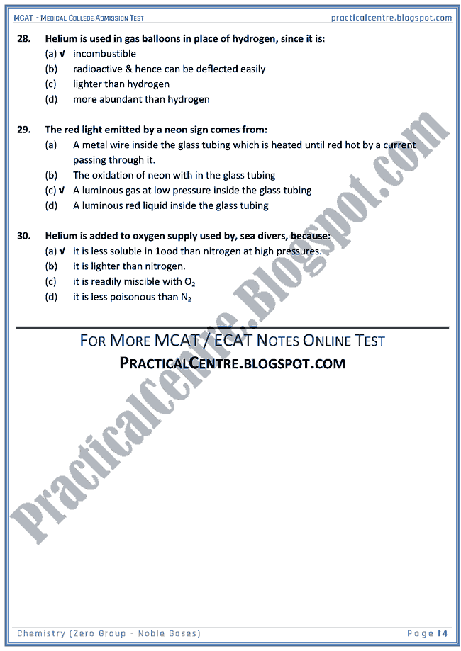 mcat-chemistry-zero-group---noble-gases-mcqs-for-medical-college-admission-test