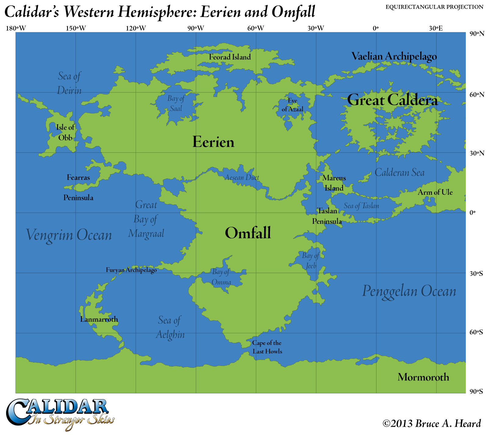 The cartography of thorfinn tait map of the day 17 the western world of calidar western hemisphere equirectangular projection gumiabroncs Gallery