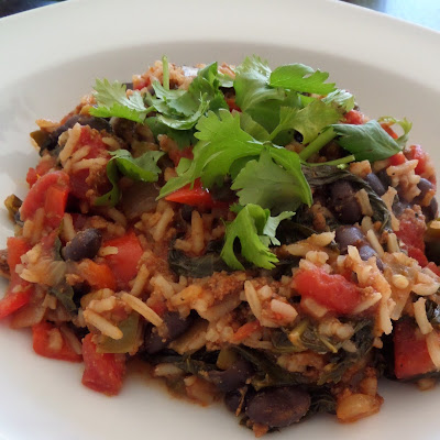 Black Beans and Rice:  A complete one dish dinner with black beans, rice, meat and vegetables.  All cooked in one pot.