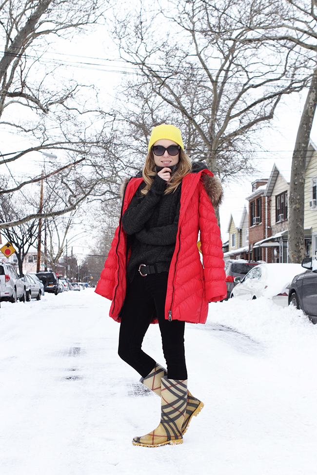 "An idea about how to wear bright colors in winter: ""Winter Brights"" by Victoria Wind of ""The Wind of Inspiration"": wearing yellow beanie + red down coat + black skinny cords + yellow rain boots #twoistyle #style #fashion #personalstyle #fashionblog #ootd #outfit #outfitoftheday"