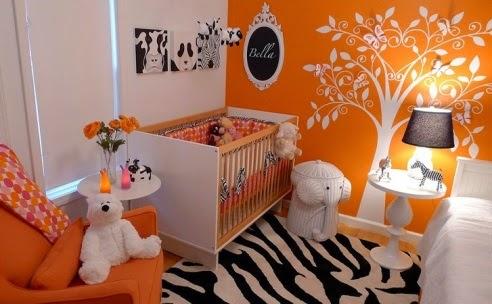 Dormitorios en naranja y blanco para beb s dormitorios - Pared naranja combina con ...