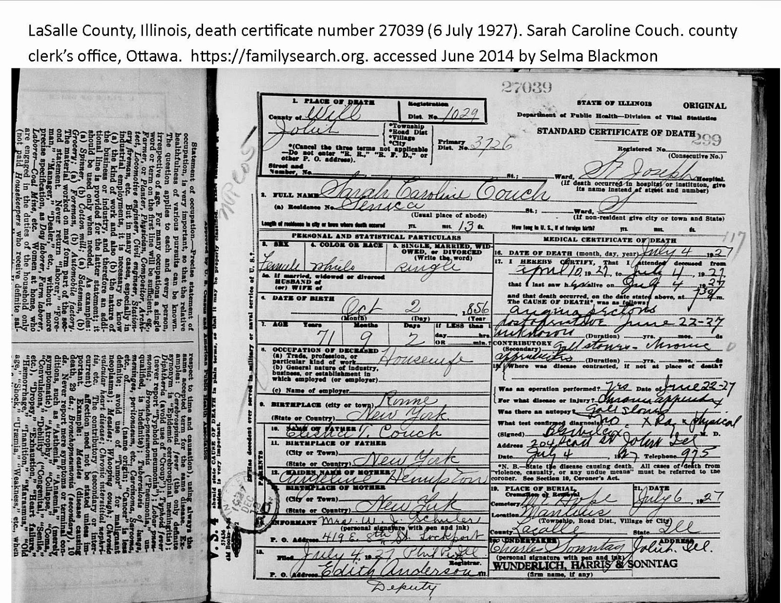 Genealogical research past present future who is the mother who is the mother of sarah caroline couch 1856 1927 according to the death certificate xflitez Choice Image
