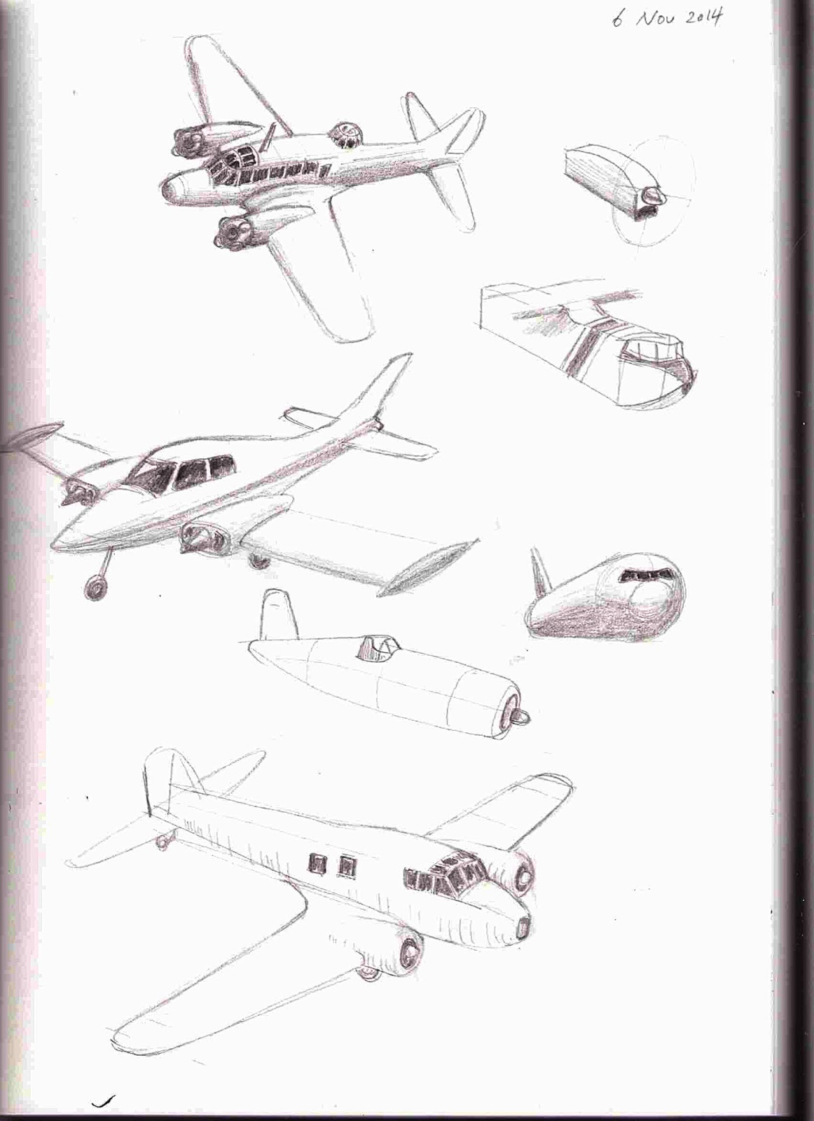 Sketchbook drawings of various aeroplanes