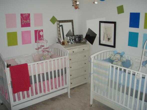50 ideias de quartos para beb s g meos gemelares - Habitaciones para gemelos ...