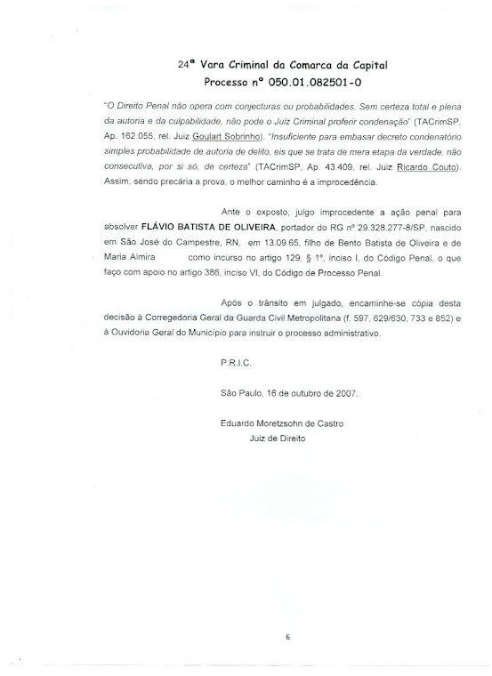 Sentença do Tribunal de Justiça.