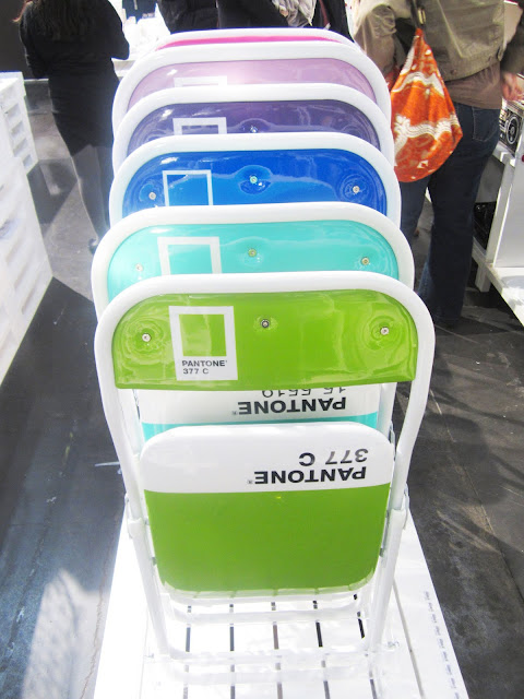 Close up of Pantone folding chairs