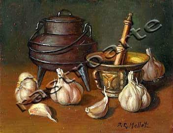 Bodegón de ajos con un almirez de latón y un pote metalico