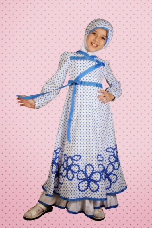 Baju muslim anak perempuan cantik banget warna biru putih