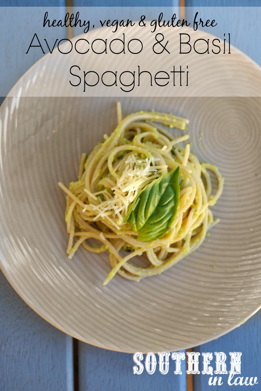 Healthy Avocado and Basil Spaghetti Recipe - low fat, gluten free, sugar free, vegan, clean eating friendly