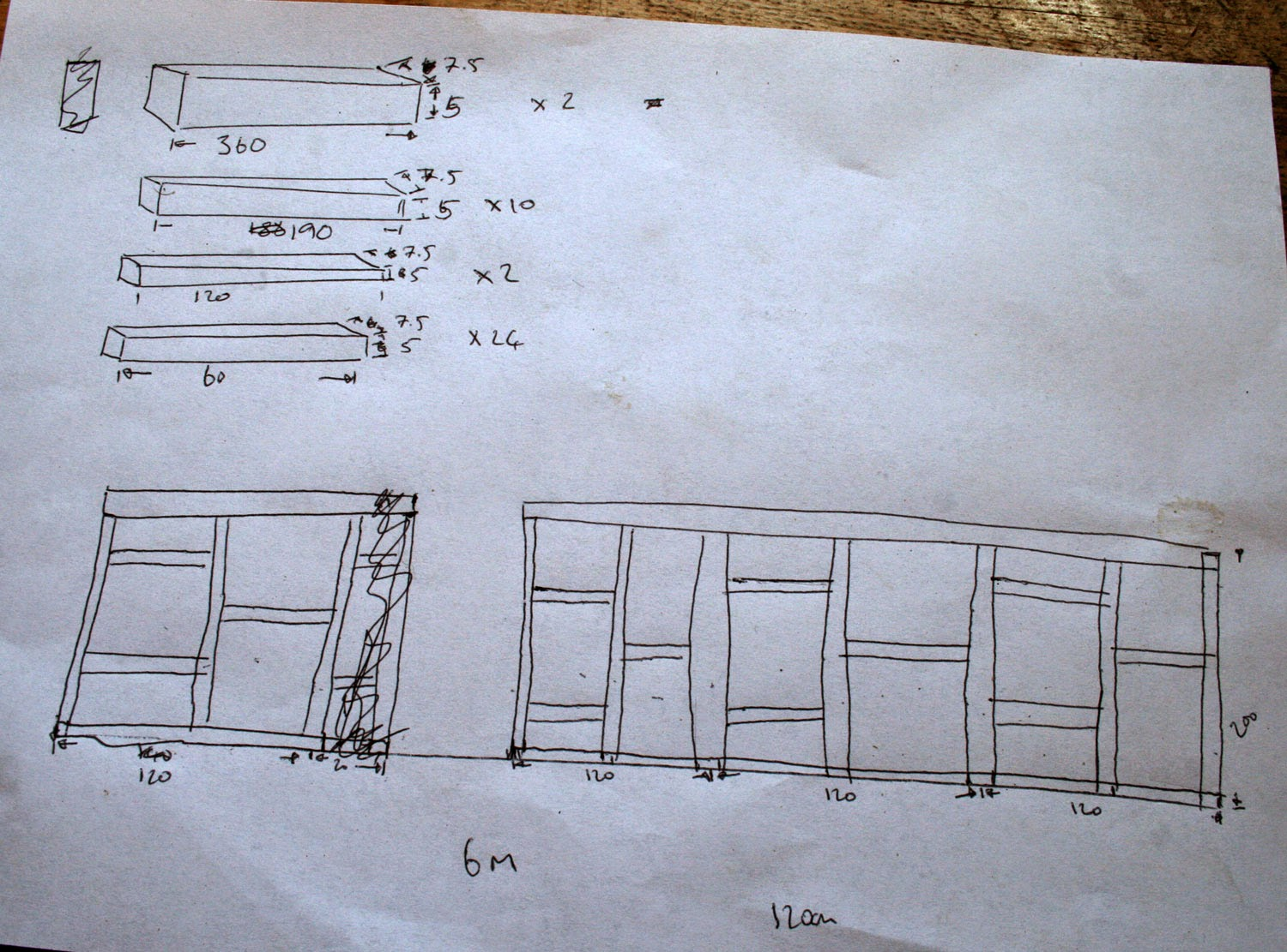 The wall with door space and wood requirements