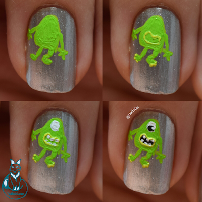 Monsters, Inc. Halloween nail art