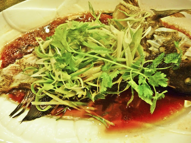 Chinese style steamed Lapu-Lapu with soy sauce