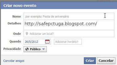criar evento no Facebook