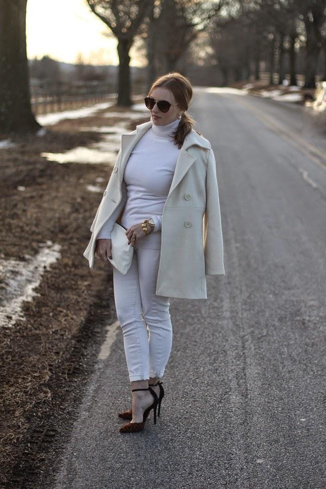 nordstrom cashmere turtleneck, jcrew ecru jeans, jcrew peacoat, prada sunglasses, clare v clutch, julie vos jewelry