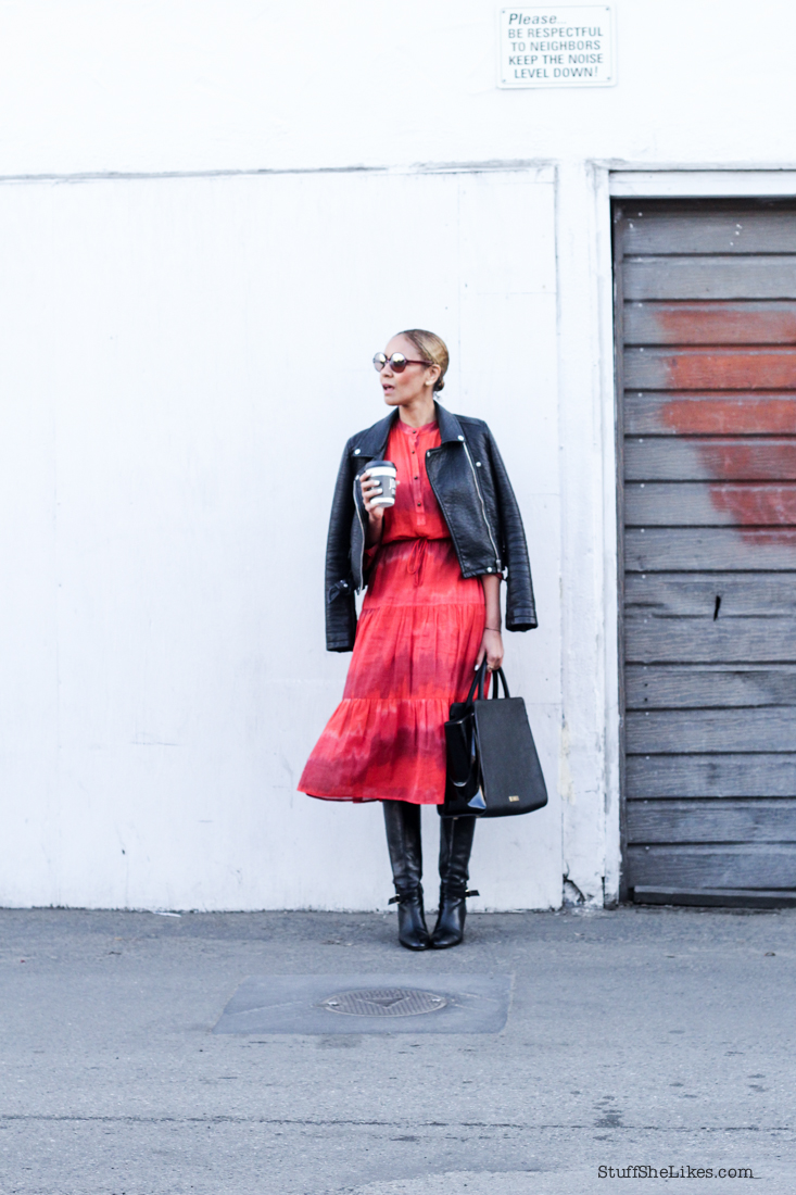 1970's, red dress, cynthia vincent, black moto jacket, slick back hair. low ponytail, tall boots, blogger, best fashion blogger, top fashion blogger,