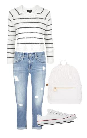 jersey de rayas de lana + jeans boyfriend + zapatillas blancas + mochila blanca