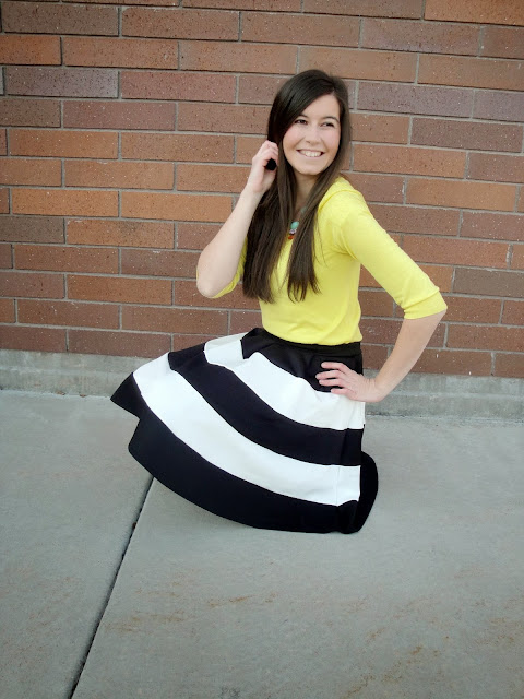 yellow sweater, black and white skirt, fit and flare, skirt, windsor store, windsorstore, jcrew, fit and flare skirt, flares, black and white, pretty, make up, long hair, necklace, statement necklace,
