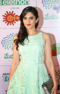 Deeksha Seth in Lovely Mini Skirt at Memu Saitam Dinner With Stars Red Carpet
