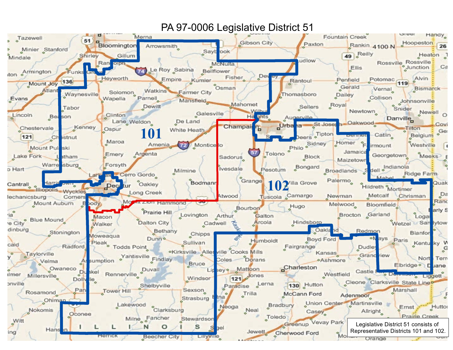 map of illinois realigned state senate district 51 and state representative districts 101 and 102