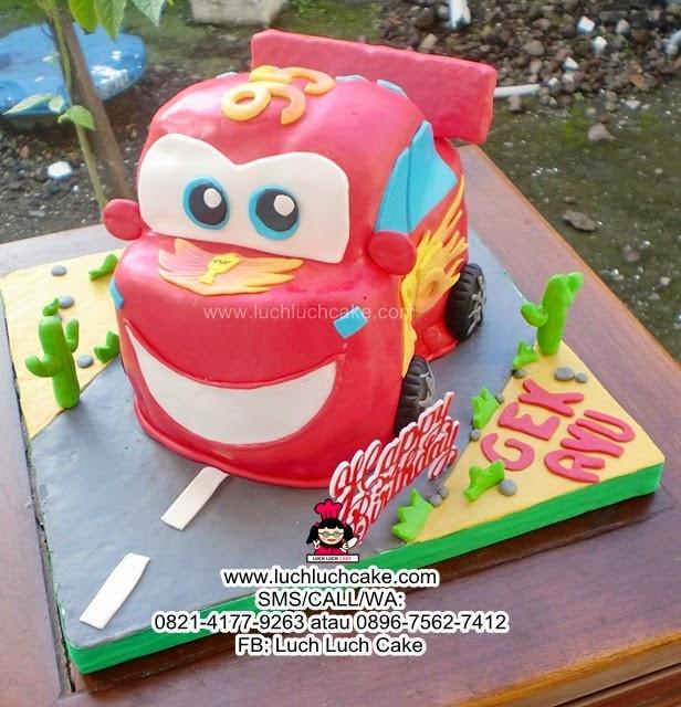 Kue Tart Cars Mc Queen 3D Fondant Daerah Surabaya - Sidoarjo