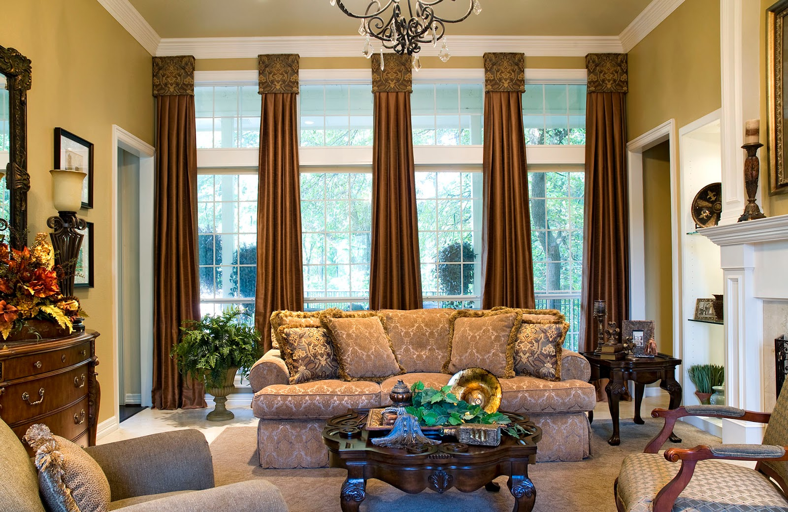 Brown curtains designs for living room - Brown Curtains Ideas Combine With The Interior