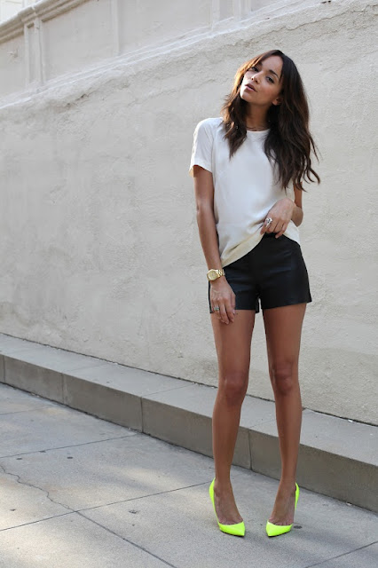 Mint Blog, black leather shorts