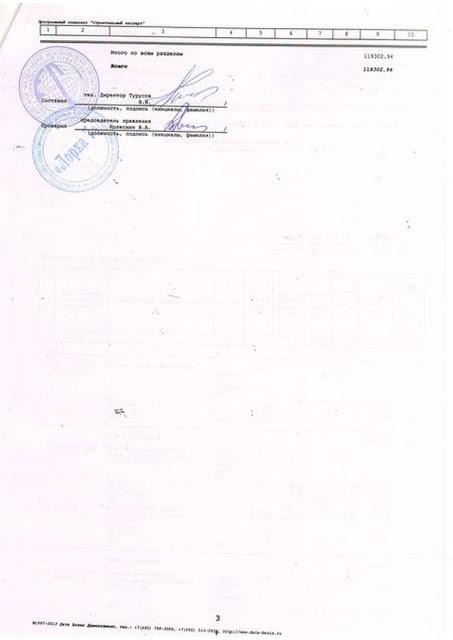 Ремонт козырьков подъездов. Локальный сметный расчет N 4. Страница 3. С печатями и подписями