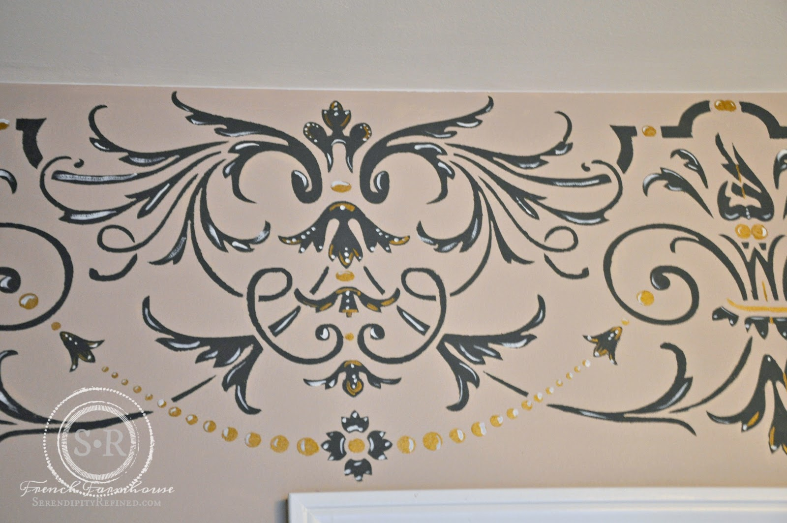 Serendipity refined blog gold and gray stenciled bedroom i found that when working with a large stencil using repositionable spray adhesive to adhere the stencil to the wall makes it much easier to handle and amipublicfo Choice Image