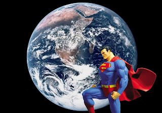 Superman free posters wallpapers Superman Statue in Earth Seen From Space background