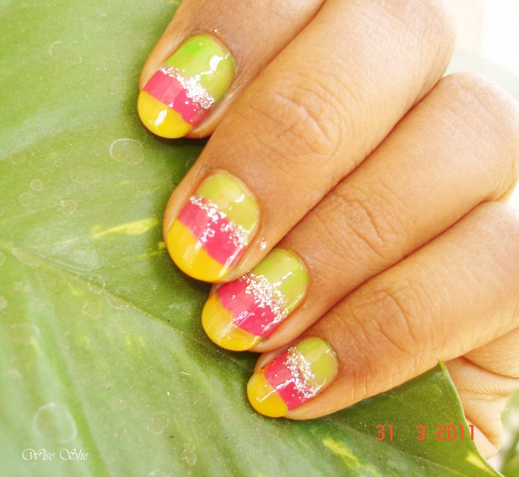 Colorful Nail Art Design for Short Nails title=