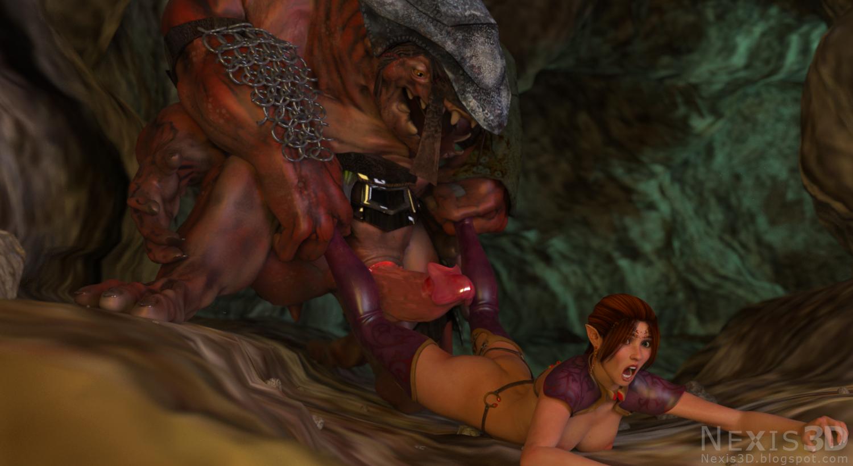 Human male on elf female sex video
