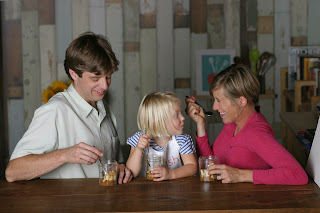 Kitchen Kid and Raddish founder, Samantha Barnes snacking with her family