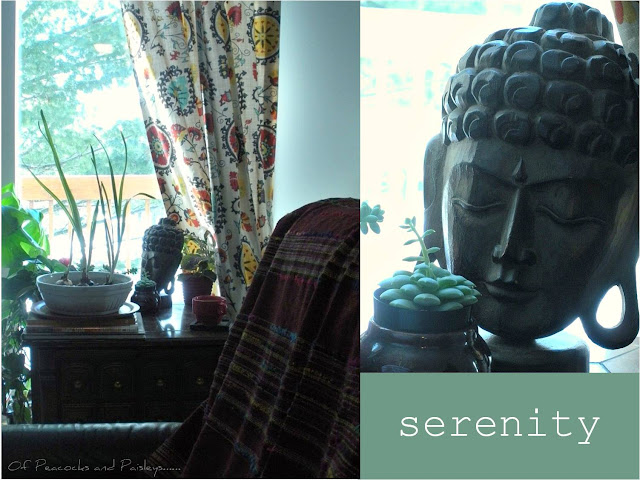 Buddha, calm, serene meditation corner, serene reading nook