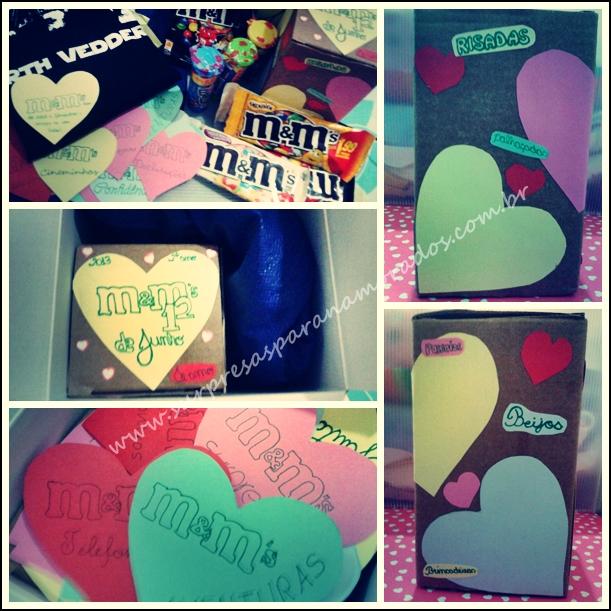 caixa chocolate m&m's para namorado