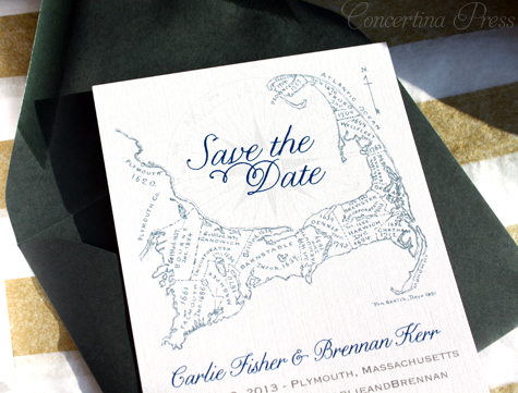 Gray and White Cape Cod Save the Dates with navy text by Concertina Press